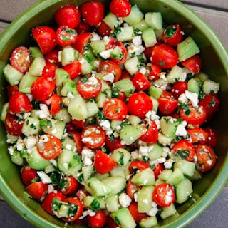 Cucumber, Cherry Tomato, Mint Salad (gluten-free, contains dairy).