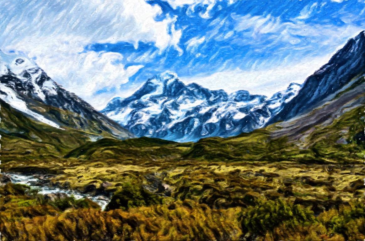 A view of a snow covered mountain  Description automatically generated