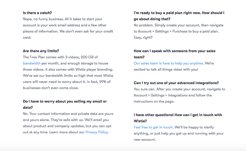 A screenshot of Wistia's FAQ landing page.
