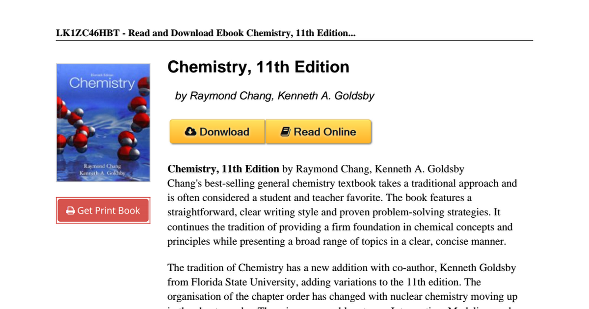 Chemistry 11th edition raymond chang 0073402680pdf google drive fandeluxe Images
