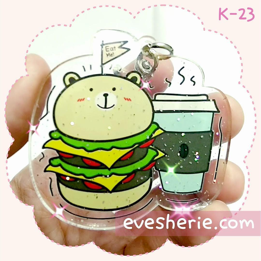 พวงกุญแจ หมี แฮมเบอร์เกอร์ กาแฟ น่ารัก cute bear teddy hamburger coffee keychain
