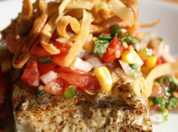 Sam's Southwest Halibut With Roasted Corn Pico De Gayo Recipe