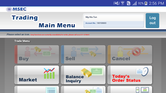 MSEC Mobile Trading - náhled