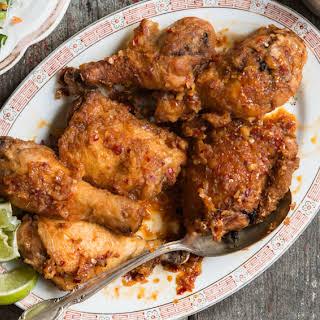 Vietnamese Fried Chicken Thighs with Garlic-Chile Glaze.