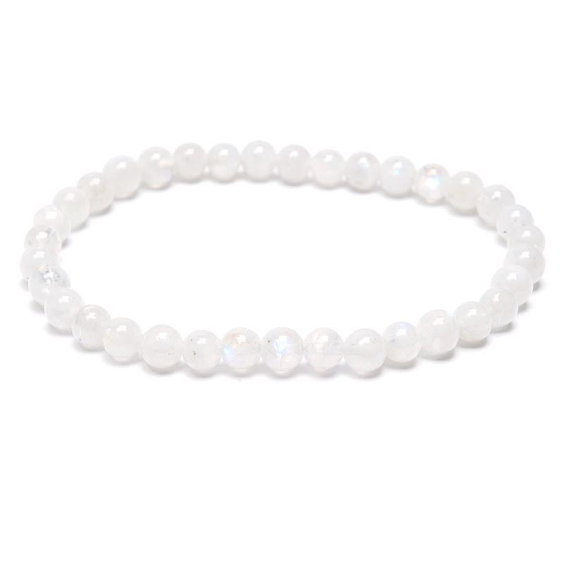 Regnbågsmånsten, armband med runda pärlor