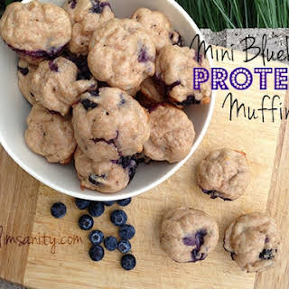 Mini Blueberry Protein Muffins.