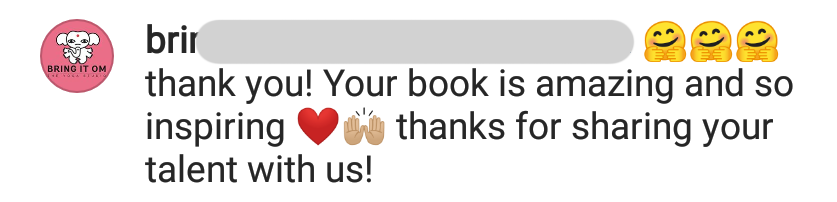 Thank you! Your book is amazing and so inpiring, thanks for sharing your talent with us.