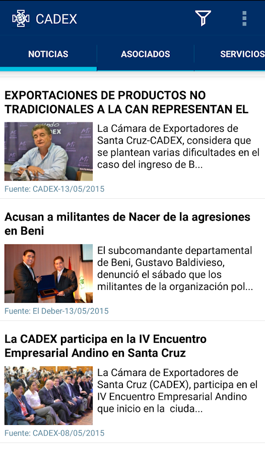 CADEX Asociados: captura de pantalla
