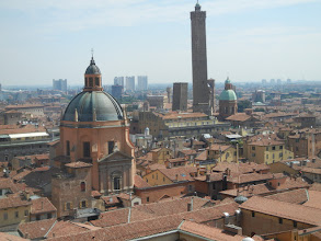 Photo: From the top of San Petronio: Santa Maria de Vita and the two towers