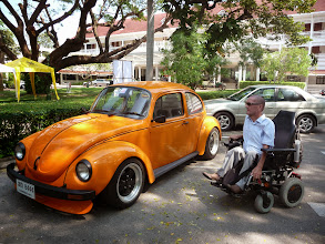 Photo: Volkswagen Beetle. My brother owned one in the sixties and drove me to school. He took out the passenger seat, put me on the back seat and put in my wheelchair on the spot of the passenger seat.