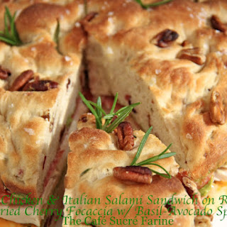 Roasted Chicken & Italian Salami Sandwich on Rosemary & Dried Cherry Focaccia W/ Basil-Avocado Spread Recipe