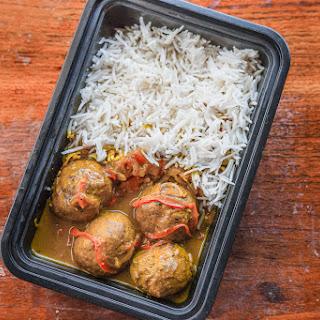 Turkey Meatballs in Coconut Curry Sauce + Basmati Rice.