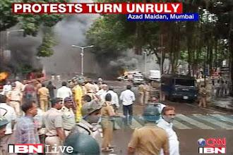 Photo: Mumbai live: 2 dead as protest against Assam riots turns violent http://t.in.com/2q71