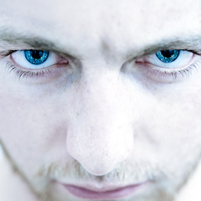 by Irvin Kelly - People Portraits of Men ( face, blue, angry )