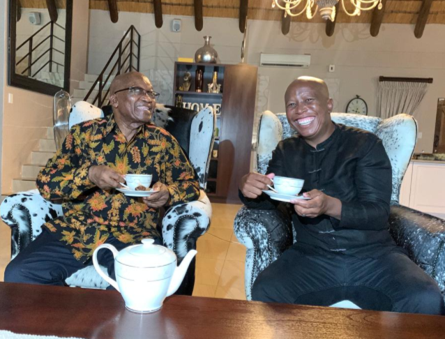 Former president Jacob Zuma and EFF leader Julius Malema at Zuma's home in Nkandla, KZN.
