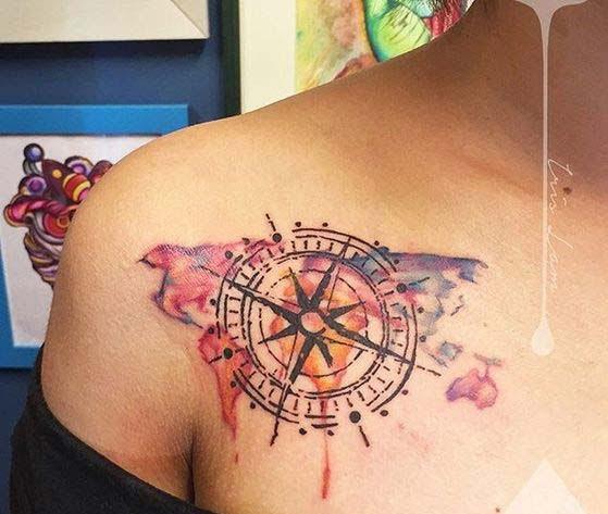 BestNautical Star Tattoo on collar bone