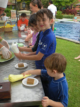 Photo: Pumpkin pie decorating at poolside