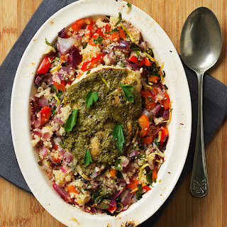 Baked Pesto Chicken With Citrus Couscous