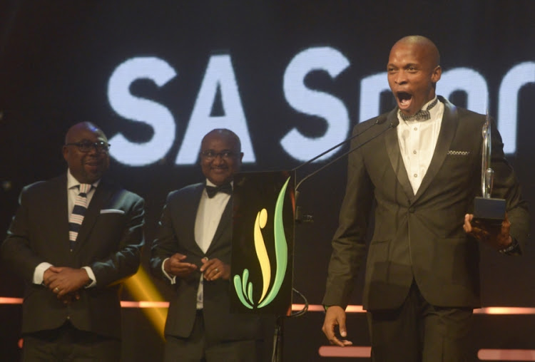Luvo Manyonga during the SA Sports Awards at Emperors Palace on November 12, 2017 in Johannesburg, South Africa.