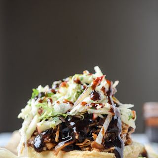 Saucy Chicken Sandwiches with Pomegranate BBQ Sauce and Crunchy Apple Slaw.