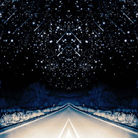 Convergence  by Rob Baker - Landscapes Starscapes ( converge, road, night, stars, creative )