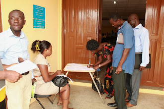 Photo: Some assembly members registering at the workshop on decentralization at Juaso
