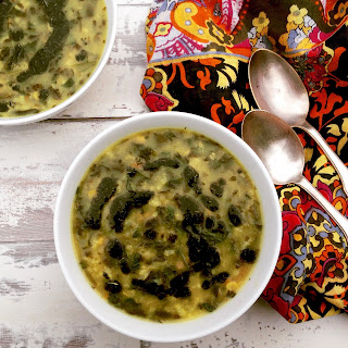 Persian Plum Soup with Fried Mint Topping (ash-e aloocheh)