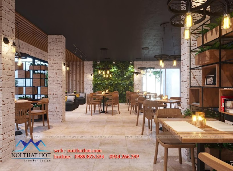 thiết kế quán cafe mộc mạc đẹp mắt