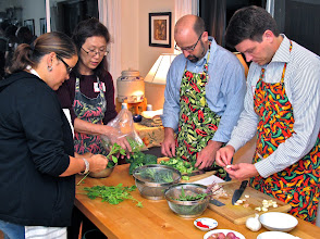 Photo: class members prepare ingredients