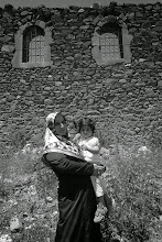 Photo: Gülistan and Zehra in front of the remnants of old Armenian building, Muş