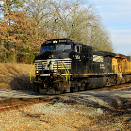 Norfolk Southern 9454 by Rick Covert - Transportation Trains ( afternoon, fast, railroad, locomotive, arkansas, rural, railroad tracks, arkansas photographer, trains )