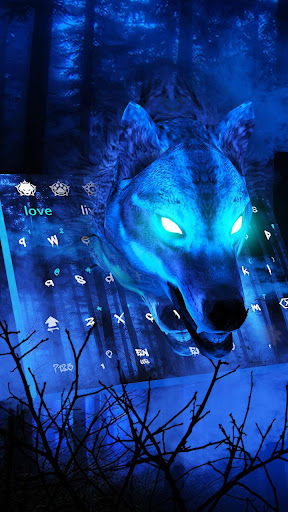 3D Live Ice Wolf Keyboard Theme for PC