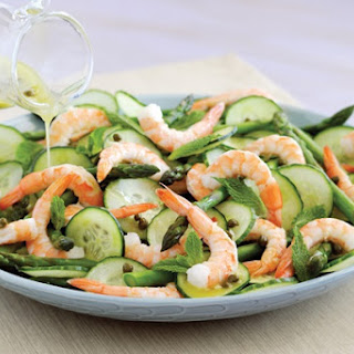 Shrimp and Asparagus Salad with Caper Dressing.