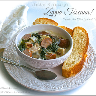 Chicken & Sausage Zuppa Toscana with Bacon, Cremini Mushrooms and Fresh Kale (Better than Olive Garden's!)