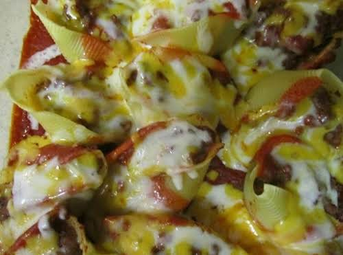 "Click Here for Recipe: Enchilada Stuffed Shells ""I made this for tonight's..."