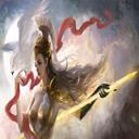Ancient antique God Girl with lightning bolt