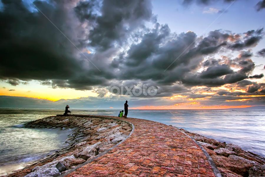 Path of Sanur Beach by Bigg Shangkhala - Landscapes Travel ( clouds, path, ocean, beach, sunrise, pwcpaths )