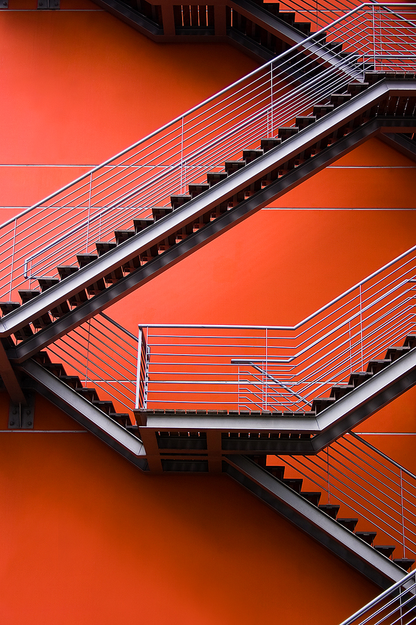 Escadas by Pedro Barreiros - Buildings & Architecture Architectural Detail ( abstract, orange, stairs, lines, architecture, pmbarreiros, lisbon, portugal )