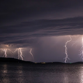 Incoming storm by Jernej Lipovec - Landscapes Weather ( thunder, sony, lightning, thunderstorm, waterscape, croatia, šibenik, sea, weather, night, storm )