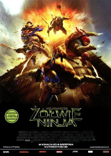 Przód ulotki filmu 'Wojownicze Żółwie Ninja'