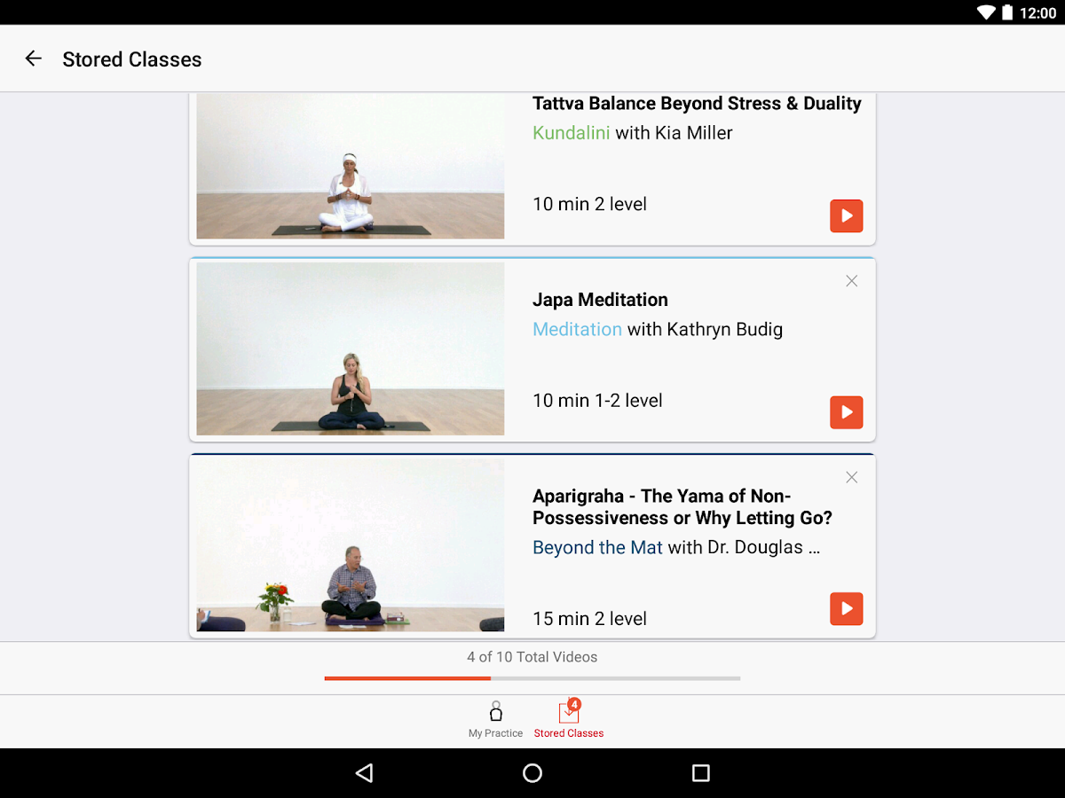 YogaGlo Offline Viewing App- screenshot