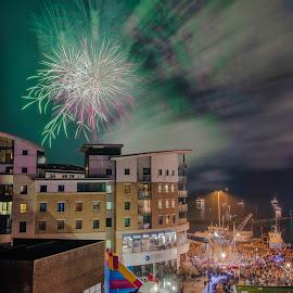 November the 5th UK by Roy Hornyak - City,  Street & Park  Skylines ( sky, van, crowd, night, smoke, fireworks, windows, water, people, doors, street, buildings, colours,  )
