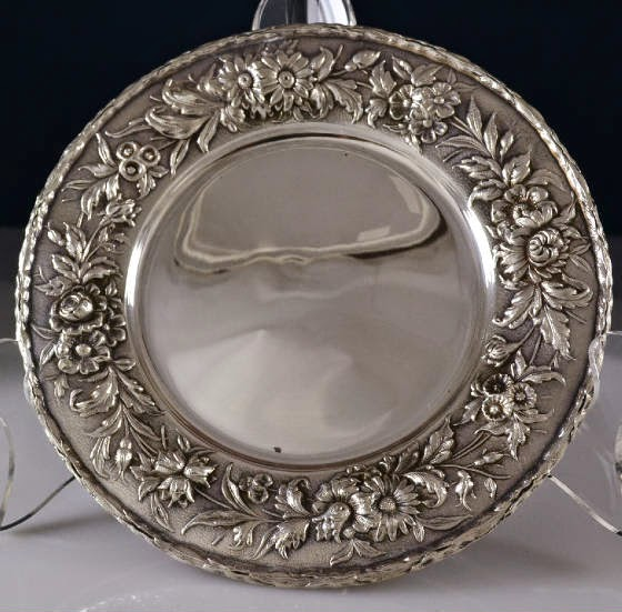 Photo: Kirk Repousse Plates — http://www.RareSterling.com  Sterling Silver Flatware and Hollowware  RareSterling.com Antiques — Buying Sterling Silver from anyone, anywhere in the USA. Trust in our Experience!  Call Mike Coone, the Rare Sterling Silver Specialist, today at 310.435.1056 or visit our website at http://www.RareSterling.com