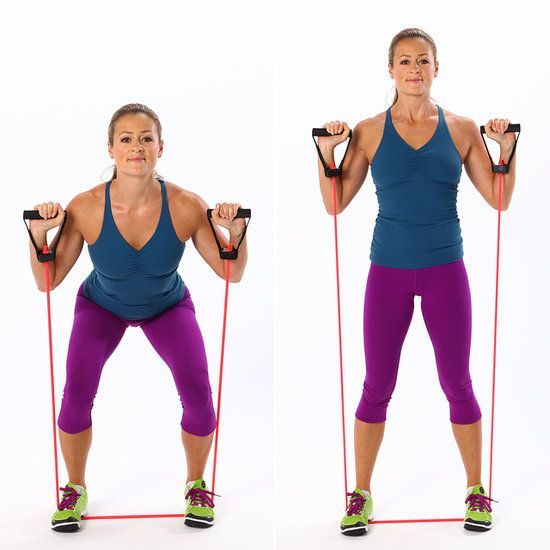 Squat exercise with resistance bands