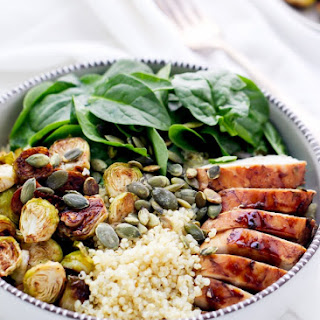 Balsamic Brussels Sprouts And Chicken Quinoa Bowls.