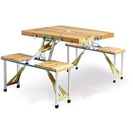 Masa pliabila de picnic cu 4 scaune, lemn, tip servieta