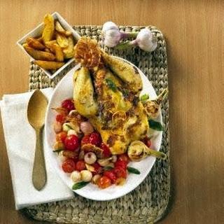 Brathuhn mit Parmaschinken und Röstkartoffeln