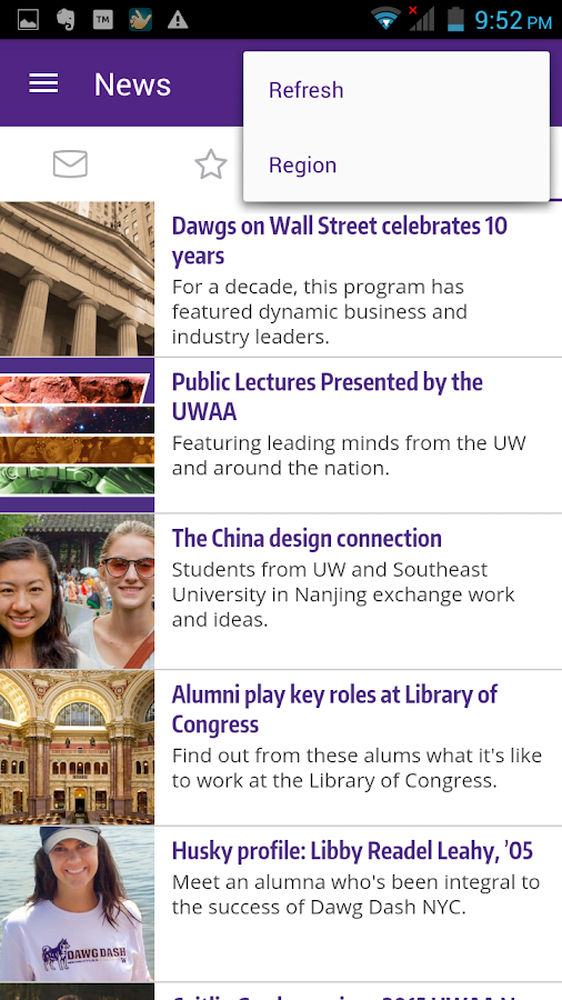 UW Alumni Association- screenshot