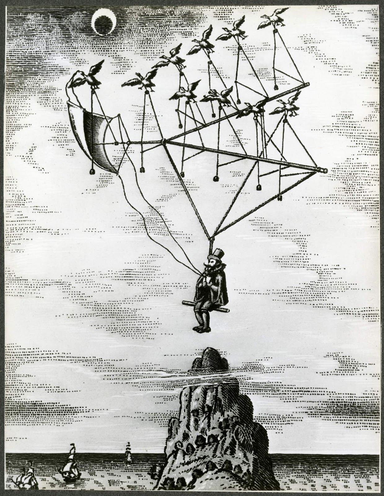 """Godwin """"Gonsales"""" Birds (""""Man in The Moone,"""" 1638); Moon, Exploration,  Concepts, Pre-1900. [photograph] 
