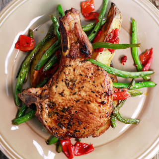 Roasted Pork Chops with Green Beans & Potatoes.